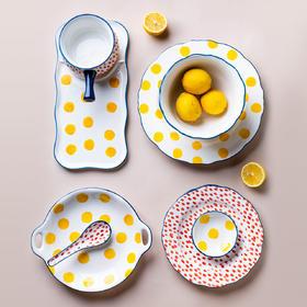 摩登主妇波点日式创意陶瓷早餐餐具米饭碗盘子家用碗碟套装沙拉碗