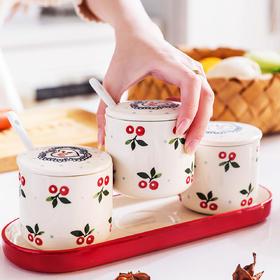 摩登主妇 樱桃陶瓷调味罐佐料盒厨房用品调料罐家用沥水陶瓷筷筒