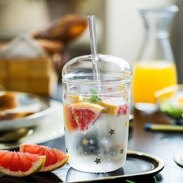 摩登主妇原创吸管杯ins风带盖水杯可爱透明简约高颜值双饮玻璃杯