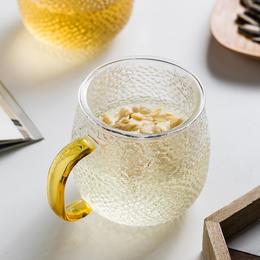 摩登主妇锤纹水杯女金边带把透明玻璃杯ins风茶水分离花茶杯家用