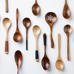 摩登主妇日式木质小勺子实木餐具长柄调羹咖啡勺汤勺饭勺茶勺漏勺