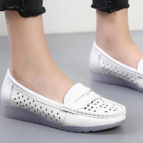 2020新款春夏季真皮镂空白色护士鞋平跟软底洞洞单鞋防滑透气女鞋