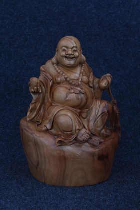 【邮费到付】桐柏山木雕博物馆 纯手工樟木弥勒佛木雕
