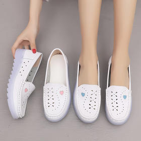 2020春夏季新款真皮平底护士鞋女舒适镂空透气平跟软底白色工作鞋