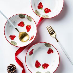 摩登主妇可爱少女心水果沙拉碗家用陶瓷碗早餐碗草莓碗花边甜品碗