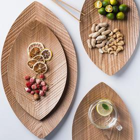 摩登主妇日式创意柳叶盘面包寿司早餐盘木质托盘茶盘水果点心盘子