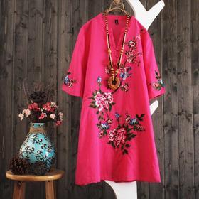 PDD-NSN0522新款民族风宽松显瘦短袖刺绣连衣裙TZF