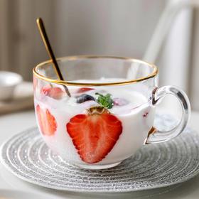 摩登主妇带把金边玻璃杯牛奶大容量早餐杯酸奶咖啡杯茶杯麦片水杯