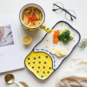 摩登主妇原创一人食早餐餐具套装日式家用牛排儿童早餐盘陶瓷盘子