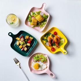 摩登主妇欧式陶瓷哑光菜盘摆拍盘子ins风单柄家用烘焙焗饭烤箱盘