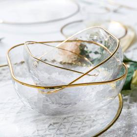 摩登主妇北欧金边透明网红玻璃碗沙拉碗家用餐具燕窝甜品碗水果碗