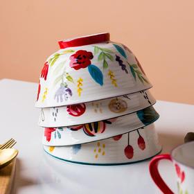摩登主妇日式手绘花卉饭碗单个陶瓷日式餐具创意家用粥碗汤碗小碗