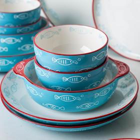 摩登主妇蓝色鱼餐具创意米饭碗汤面碗盘碗碟菜盘餐盘勺家用套装