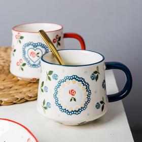 摩登主妇陶瓷马克杯带勺牛奶杯麦片早餐杯子水杯大容量咖啡杯家用