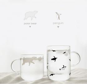 摩登主妇 水杯简约家用清新可爱森系创意透明玻璃杯带把杯子茶杯