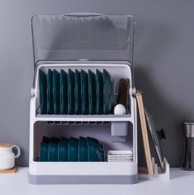【厨房配件】厨房碗架碗筷收纳盒双层沥水装碗箱碗碟带盖厨具置物架塑料碗柜