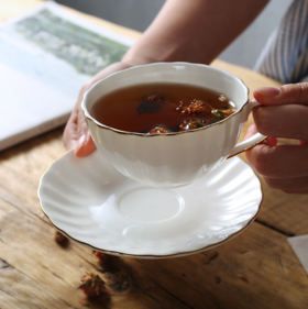 【居家日用】英式下午茶杯咖啡杯碟乔迁新婚礼物手工描金西餐厅骨瓷杯套装