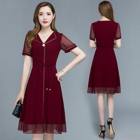 QYM-XZXYA18新款优雅气质修身显瘦V领连衣裙TZF