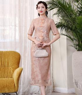 DLQ-A2386新款中国风贴花钉珠刺绣立领上衣半身裙礼服套装TZF
