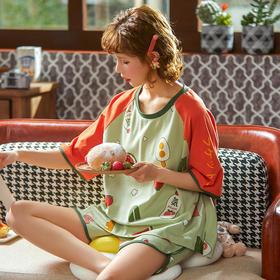 润微新品女夏棉质舒适小可爱水果印花可外穿短袖套头套装家居服  盛夏沙拉 yjdf