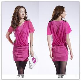 PDD-LJL新款v领性感蕾丝包臂短袖裙TZF