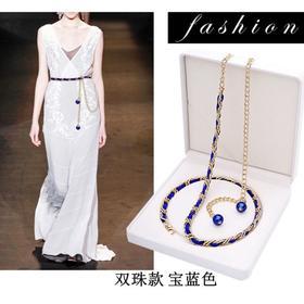 PDD-WLL新款韩版时尚连衣裙珍珠腰带链TZF