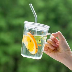摩登主妇水杯带吸管玻璃杯清新创意便携ins风果汁杯夏季奶茶杯子