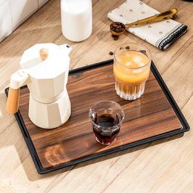 摩登主妇盘子创意网红盘子北欧木质茶杯托盘长方形密胺餐具茶具