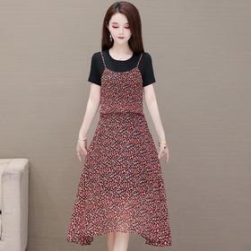 QYM-YSME-2096新款时尚气质碎花收腰显瘦中长款连衣裙TZF