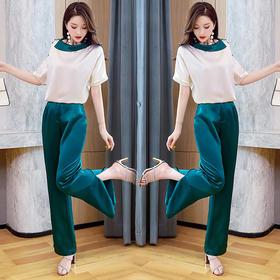 HRFS-WY20569新款时尚气质个性拼色斜肩T恤直筒裤两件套TZF