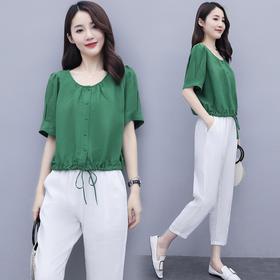 HRFS-WY20589新款时尚气质棉麻宽松显瘦短袖T恤哈伦裤两件套TZF