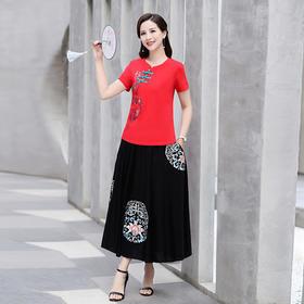 MQ-SLQ2081新款民族风绣花短袖T恤半身裙两件套TZF
