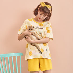 润微家居服女棉时尚可爱宽松版型大热格纹小鸡印花短袖套头套装  萌萌鸡仔