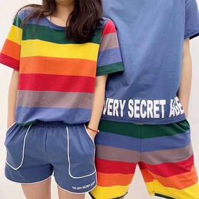 TSFS-C5202020新款纯棉T恤彩虹情侣睡衣套装TZF