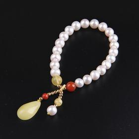 NM-SL-2205253新款天然淡水珍珠蜜蜡水滴吊坠手链TZF