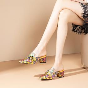 OLD349新款复古包头刺绣高跟拖鞋TZF