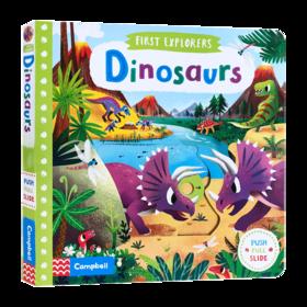 小小探索家系列 恐龙 英文原版 First Explorers Dinosaurs 机关操作纸板书 儿童生物知识科普英语启蒙 英文版幼儿认知趣味玩具书