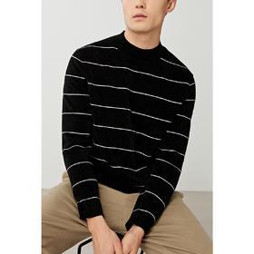 男装冬季新款半高领条纹套头毛衣男士加厚针织衫潮2293