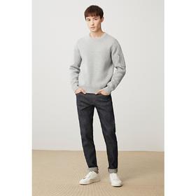 【内购特卖】男装春季新款纯棉合体纯色长袖圆领针织衫毛衣简约3132