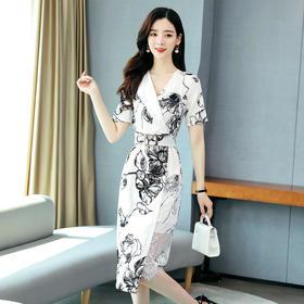 通勤V领松紧腰,韩版不规则裙短袖连衣裙HR-RSLD8106