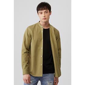 秋季新款纯棉宽松纯色长袖立领衬衫简约5469