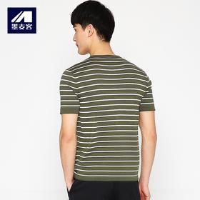 条纹短袖T恤舒适透气圆领薄款体恤7637