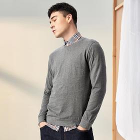 男装春季新款男士圆领套头卫衣纯色休闲纯棉外套