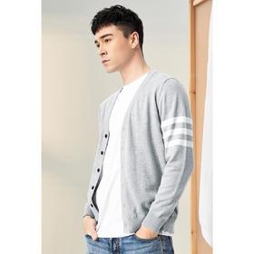 男装2020春季V领针织开衫男士条纹休闲毛衣外套3368