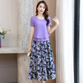 HRFS-WL36159新款时尚气质短袖T恤印花半身裙两件套TZF