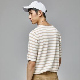 圆领条纹针织休闲体恤青年短袖T恤男士半袖打底衫潮