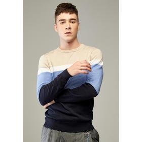 男装2020春季新款男士圆领套头青年提花长袖毛衣针织衫