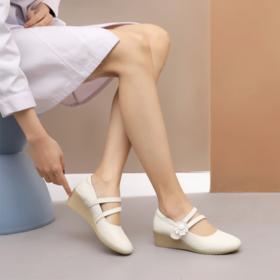 白色护士鞋真皮坡跟软底工作鞋圆头舒适平底防滑女单鞋子小码3334