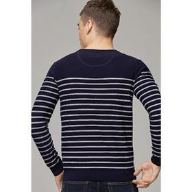 【内购特卖】春新款男士套头薄款毛衣男圆领条纹全棉长袖针织衫