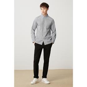 秋季新款精梳棉衬衫男士常规条纹长袖翻领衬衫5361